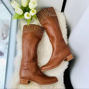 CASADEI Brown Leather Bling Knee High Riding Boots